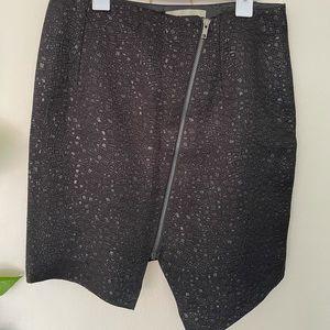 White Suede, black zipper mini skirt